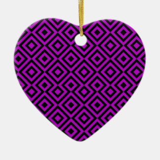 Black And Purple Square 001 Pattern Christmas Ornament