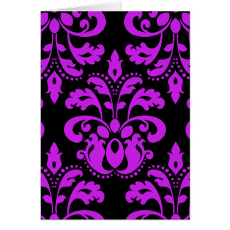 Black and purple victorian vintage damask card