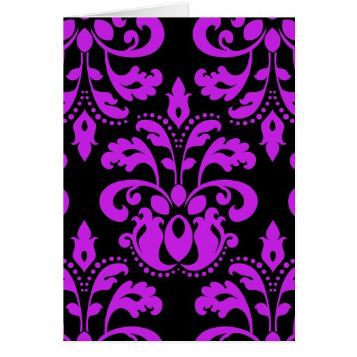 Black and purple victorian vintage damask card