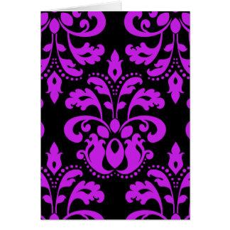 Black and purple victorian vintage damask greeting card