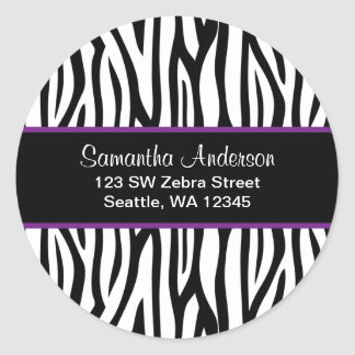 Black and Purple Zebra Custom Address Label Round Sticker