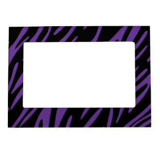 Black and Purple Zebra Stripes Magnet Photo Frame