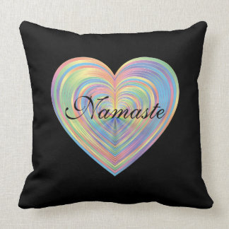 Black and Rainbow Heart Namaste Cushion