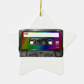 Black and Rainbow Houndstooth Cassette Christmas Tree Ornament