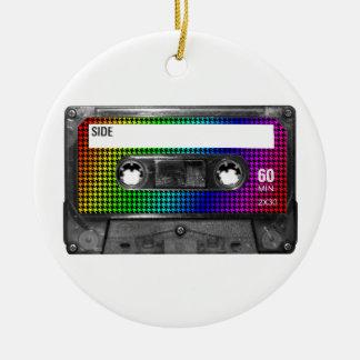 Black and Rainbow Houndstooth Cassette Round Ceramic Decoration