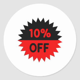 Black and Red 10 Percent Off Classic Round Sticker