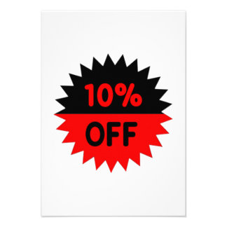 Black and Red 10 Percent Off Personalized Invites