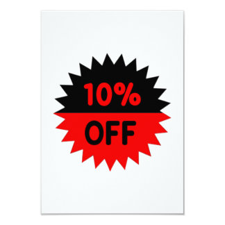 Black and Red 10 Percent Off 9 Cm X 13 Cm Invitation Card