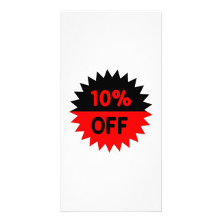 Black and Red 10 Percent Off Custom Photo Card