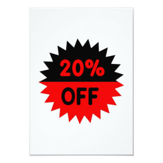 Black and Red 20 Percent Off 3.5x5 Paper Invitation Card