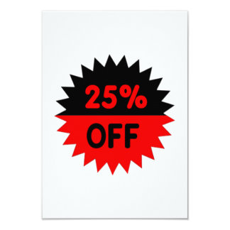 """Black and Red 25 Percent Off 3.5"""" X 5"""" Invitation Card"""