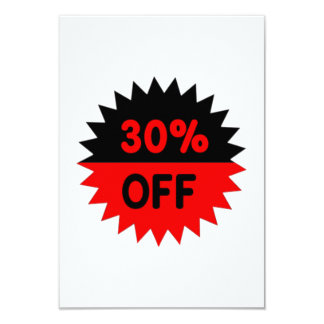 Black and Red 30 Percent Off 9 Cm X 13 Cm Invitation Card