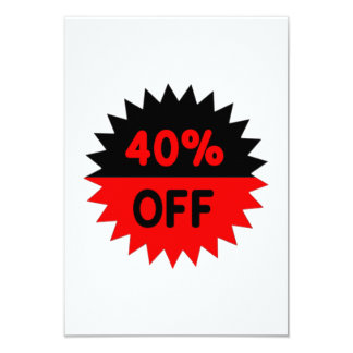 """Black and Red 40 Percent Off 3.5"""" X 5"""" Invitation Card"""