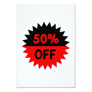 """Black and Red 50 Percent Off 3.5"""" X 5"""" Invitation Card"""
