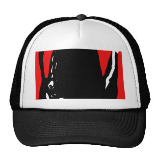 Black and red abstraction cap