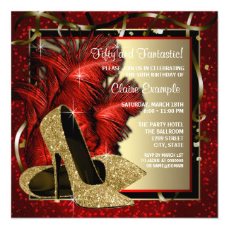 Black and Red and Gold High Heels Birthday Party 13 Cm X 13 Cm Square Invitation Card