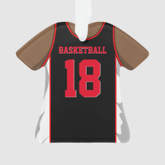 Black and Red Basketball Ornament