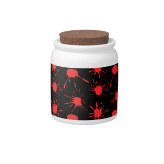 Black and Red Blood Splatters Pattern Candy Jar