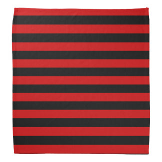 Black and Red Bold Stripes Pattern Head Kerchief