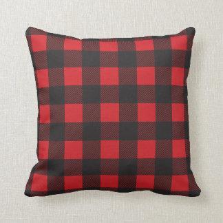 Black and Red Buffalo Check Plaid Cushion