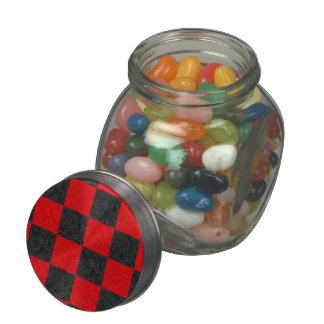 Black and Red Checkerboard Pattern Candy Glass Jar