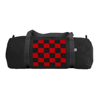 Black and Red Checkerboard Pattern Duffle Gym Bag Gym Duffel Bag