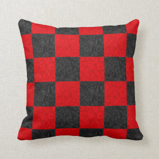 "Black and Red Checkerboard Pattern Pillow 16""x16"""