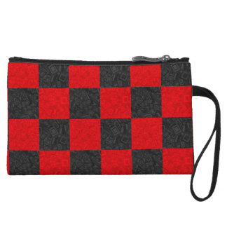 Black and Red Checkered Pattern Coin Clutch Wristlet Clutches