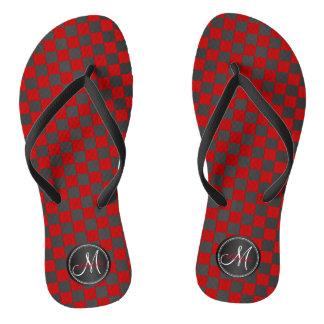 Black and Red Checks - Monogram Flip Flops