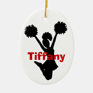 Black and Red Cheerleader Ornament