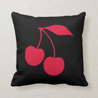 Black and Red Cherries Shape Cushion