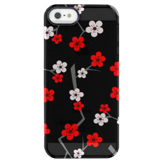 Black and Red Cherry Blossom Pattern Clear iPhone SE/5/5s Case