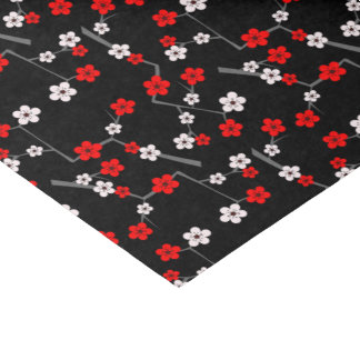 Black and Red Cherry Blossom Pattern Tissue Paper