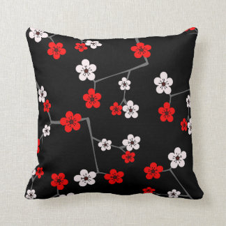 Black and Red Cherry Blossom Print Cushion