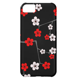 Black and Red Cherry Blossom Print iPhone 5C Case