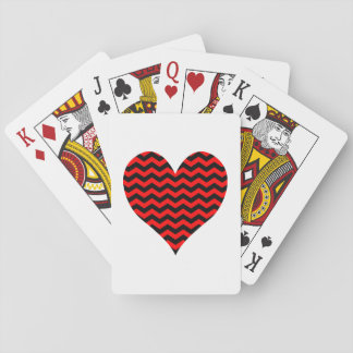 Black and Red Chevron Heart Playing Cards