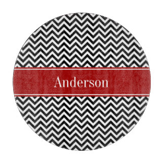 Black and Red Chevron Pattern Personalized Cutting Board
