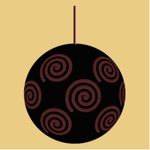 Black and Red Christmas Bauble on Gold Color Photo Sculpture