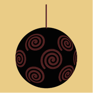 Black and Red Christmas Bauble on Gold Color Standing Photo Sculpture