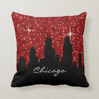 Black and Red Confetti Glitter Chicago Skyline Throw Pillow