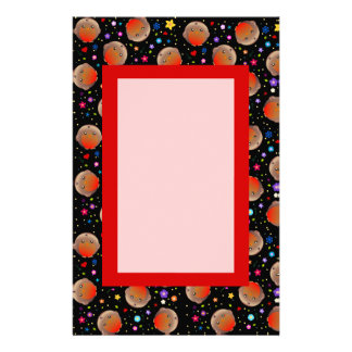 Black and Red Cute Robin Bird Pattern letter paper