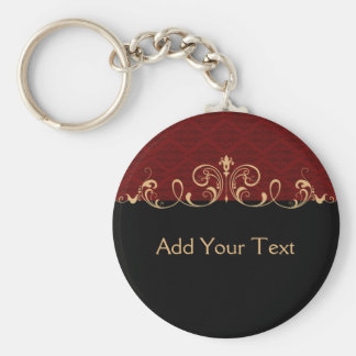 Black and Red Damask Gold Scroll Basic Round Button Key Ring
