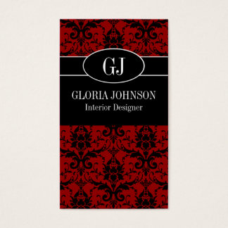 Black and Red Damask Monogram Business Card