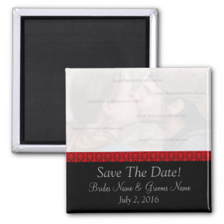 Black and Red Damask Save The Date Magnet