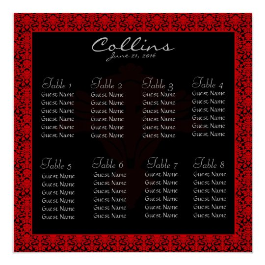 Black and Red Damask Seating Chart