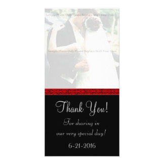 Black and Red Damask Thank You Card Photo Card Template