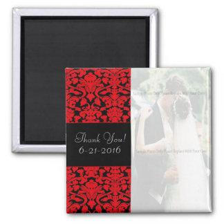 Black and Red Damask Wedding Favor Magnet