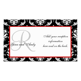 Black and Red Damask Wedding Reception Cards Business Card