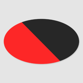 Black and Red diagonal flag Oval Stickers