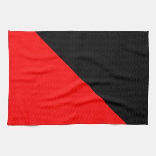 Black and Red diagonal flag Tea Towel